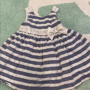 Tahari Baby Metallic & Denim Striped Dress
